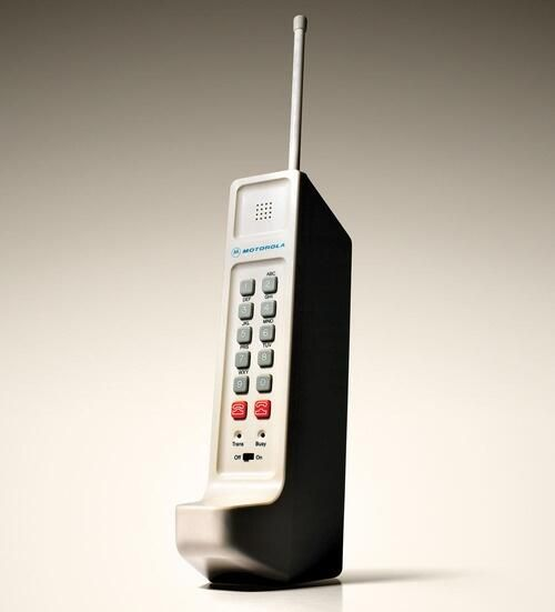 The world's first cell phone, the Motorola DynaTAC, built by Martin Cooper, 1973.