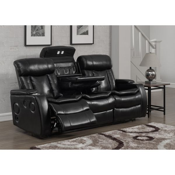 Smart Tech Bluetooth Power Reclining Black Sofa Living