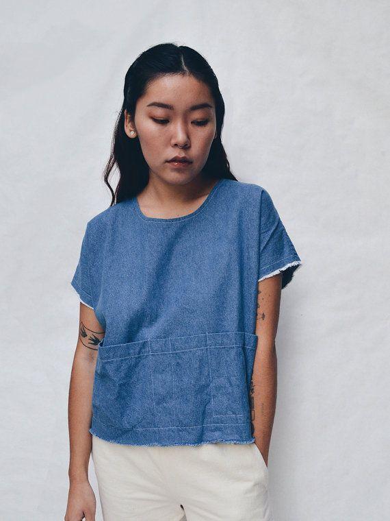 Smock Top in Denim // Denim Top - Blue Tops - Denim Smocks - Women's Hand-made Clothing