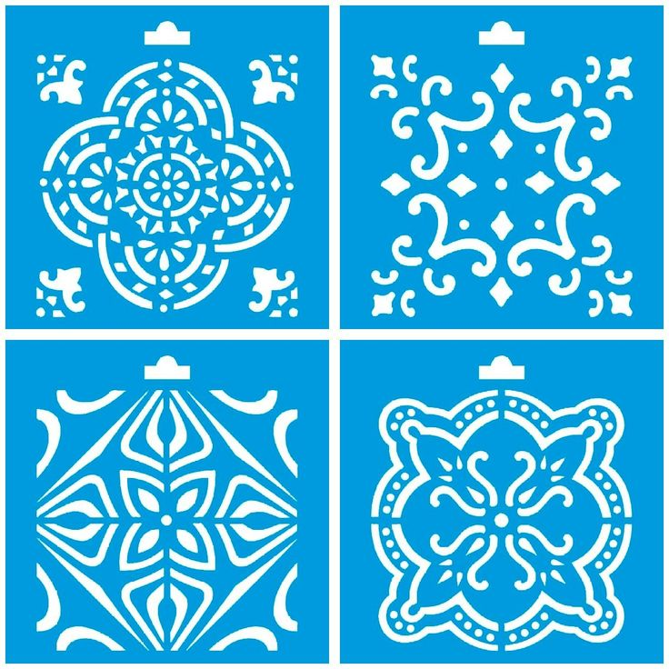 """Set of 4 - 4"""" x 4"""" (10cm x 10cm) Reusable Flexible Plastic Stencil for Graphical Design Airbrush Decorating Wall Furniture Fabric Decorations Drawing Drafting Template - Vintage Tile Ornament"""