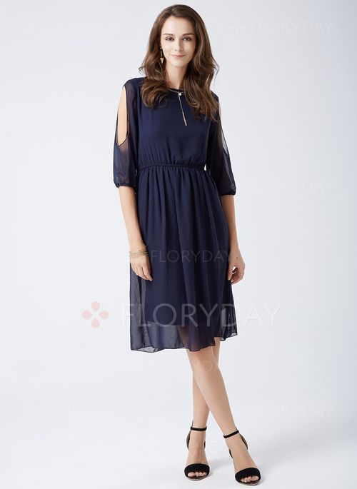 Dresses - $41.82 - Polyester Solid Long Sleeve Mid-Calf Casual Dresses…