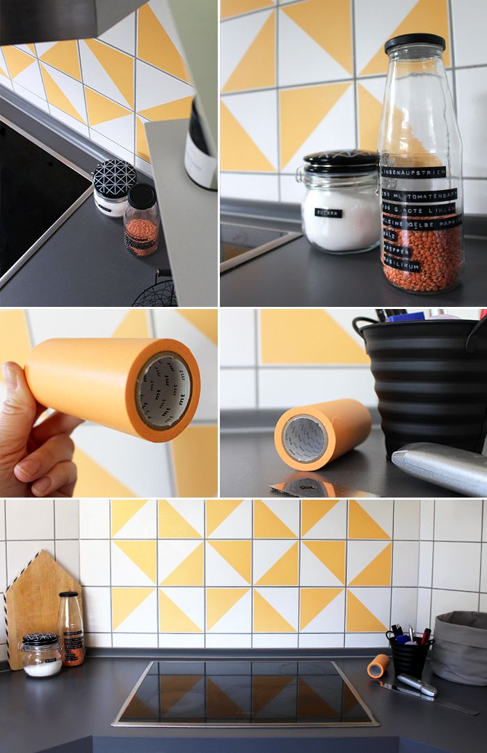 Gingered Things, DIY, tiles, kitchen Masking Tape, Dekoration, retro, Apricot, Washi Tape, Fliesen, Dekorieren, Umgestalten, Küche, Bad,