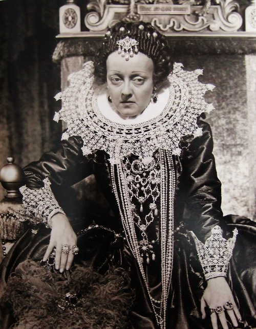 """Bette Davis in """"The Private Lives of Elizabeth and Essex"""" wearing Joseff Hollywood Jewelry"""