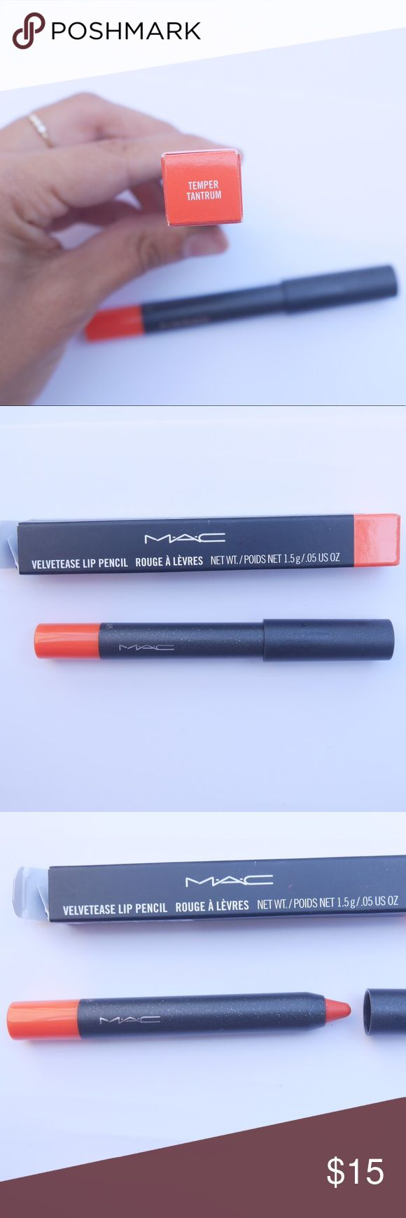NIB MAC - Velvetease Lip Pencil NEW Temper Tantrum New this was a gift and I already have this color. This is a warm orange with a satin finish that is permanent. Retails for $20. No sharpener required. Smooth clean finish. MAC Cosmetics Makeup Lipstick