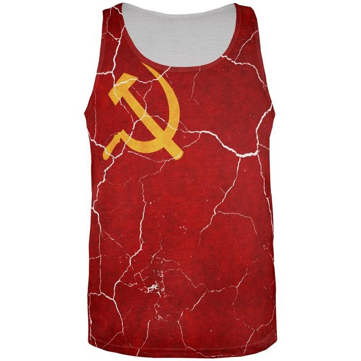 Distressed Soviet Union Flag All Over Mens Tank Top