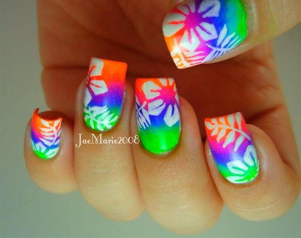 Summer Neon Nail Hawaiian Tropical Print by jaemarie2008 - Nail Art Gallery nailartgallery.nailsmag.com by Nails Magazine www.nailsmag.com #nailart