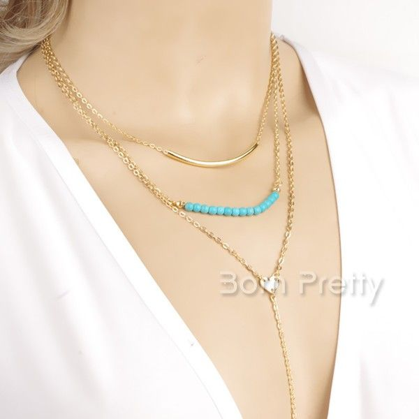 $2.99 Blue Beads Multilayer Necklace Posh Gold Plate Tassel Chain Sweater Necklace - BornPrettyStore.com