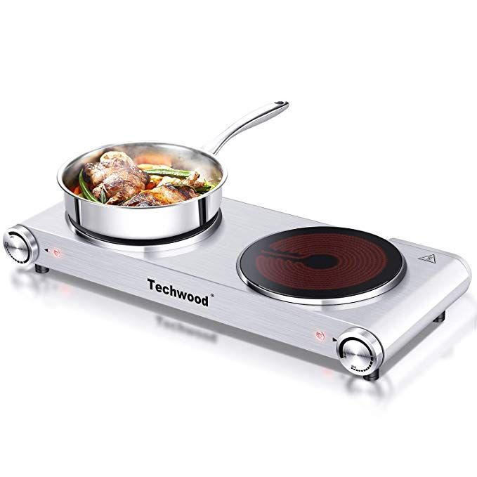 Techwood 1800 Watts Countertop Burner Infrared Ceramic Double Cooktop 900w 900w Portable Electric Hot Plate Stai Electric Hot Plate Hot Plate Hot Plates
