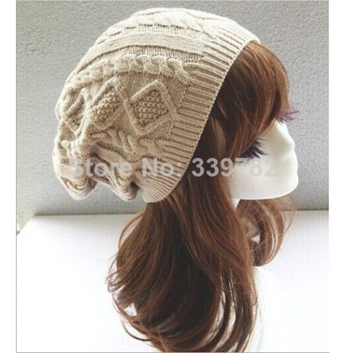 Brand New 2014 Women Winter Hats Woolen Knitted Hat Twisted Long Section Folds Girls Wool Warm Caps