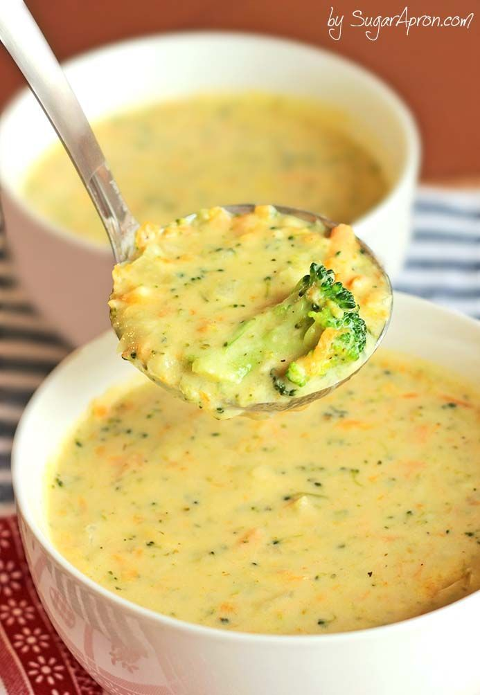 Homemade Panera Broccoli Cheese Soup| www.sugarapron.com #Comfort in a #bowl! Wanna round it out into a full meal? Serve this #Homemade #Panera #Broccoli #CheeseSoup in a #breadbowl!