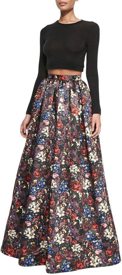 BRENT LOOOOOOOK Alice + Olivia Tina Floral-Print Ball Skirt on shopstyle.com