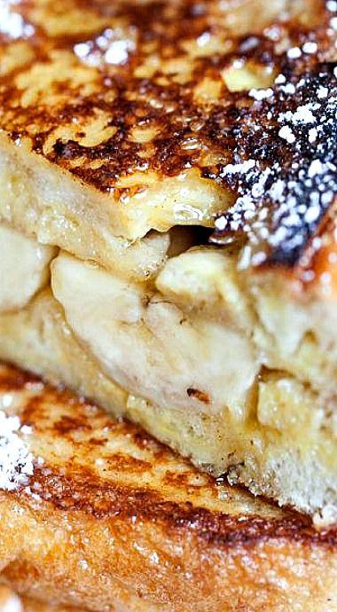 Sweet Mornings - Banana Breakfast Sandwiches [ MyGourmetCafe.com ] #dessert #recipes #gourmet