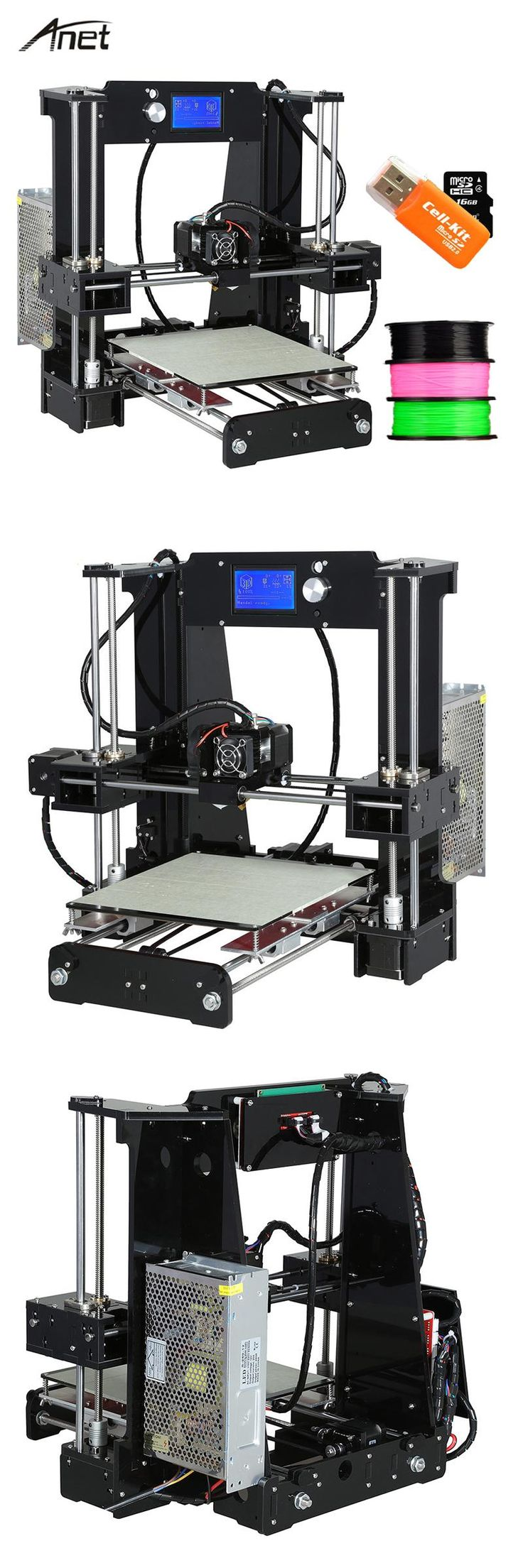 [Visit to Buy] Anet 3D printer Auto level & Normal A8 A6 Easy Assemble Large Size  Reprap Prusa i3 3D pritner DIY KIT with Filament 8G SD Card #Advertisement