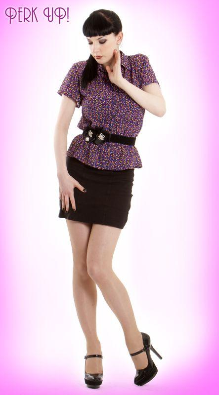 revamped 80's blouse & 80's bodycon skirt