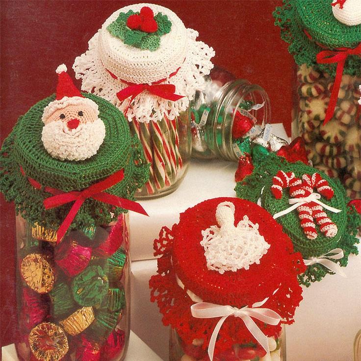 Christmas Jar Lid Covers Crochet Pattern Book Holly Bells Candy Canes Santa | eBay