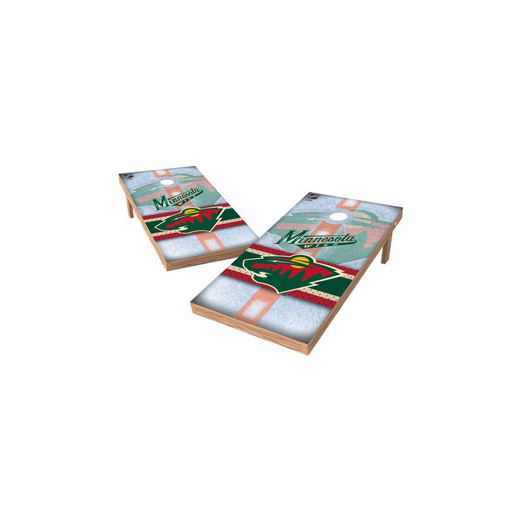 NHL Wild Sports Shield Cornhole Bag Toss Set - 2x4 ft. - Minnesota Wild