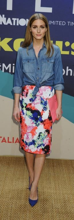 Who made Olivia Palermo's blue suede pumps and print skirt?