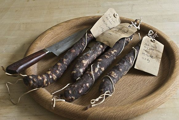 Making salami: 16. Your salamis will be ready to eat after a month of hanging