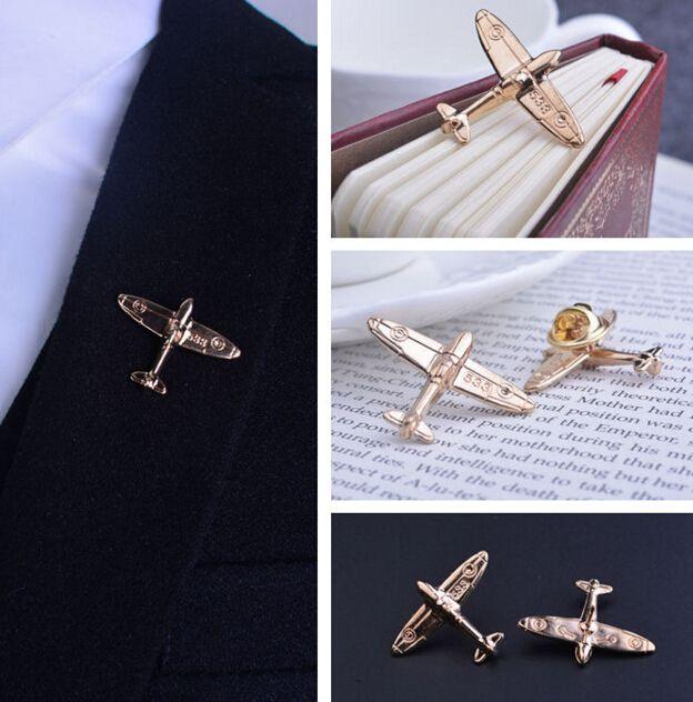 2 ピース/ペア航空機ブローチ男性金めっき が施さ れ た スーツ ブローチ男ラペル ピン結婚式ピン バッジ ブローチ ピン襟男性の スーツ ドレスアップ