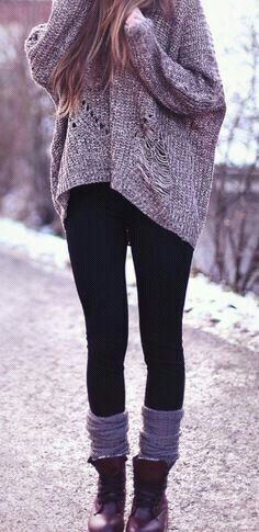 On down time: Leg warmers & an oversized semi-distressed sweater! #lulus #holidaywear