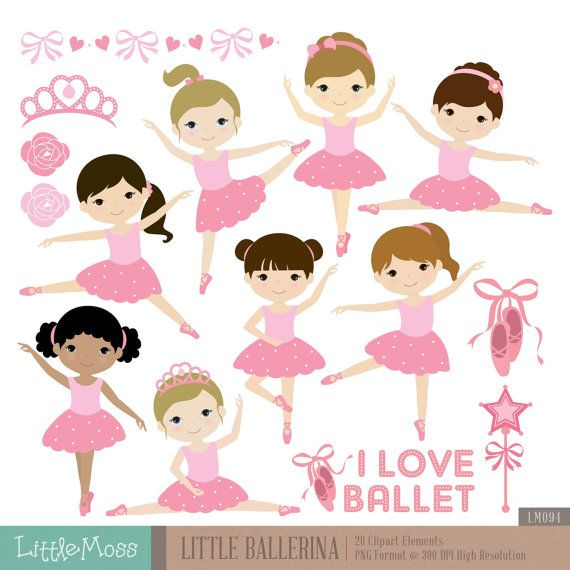 Little Ballerina Digital Clipart, Ballet Clipart, Ballerina Girl