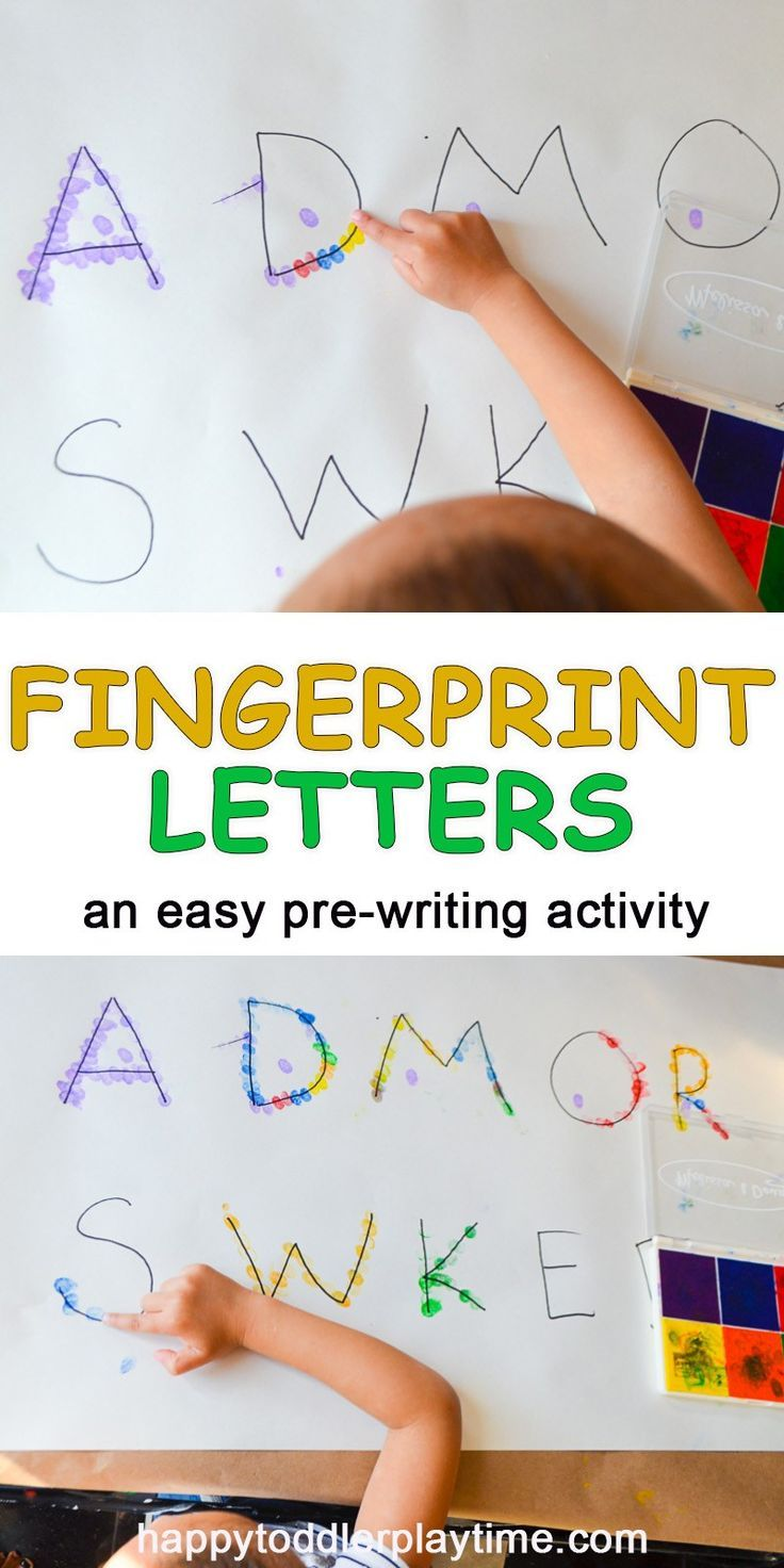 Fingerprint Letters Happy Toddler Playtime Pre Writing Activities Writing Activities For Preschoolers Preschool Activities Name writing activities for preschoolers