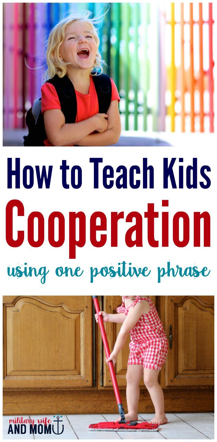 Wondering how to get your kids to cooperate? Use this positive parenting phrase to teach kids cooperation. via @lauren9098