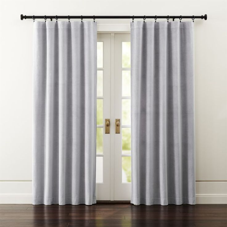 Shop Windsor Light Grey Curtains. Luxurious Light Grey Velvet Curtain  Panels Frame Windows In A