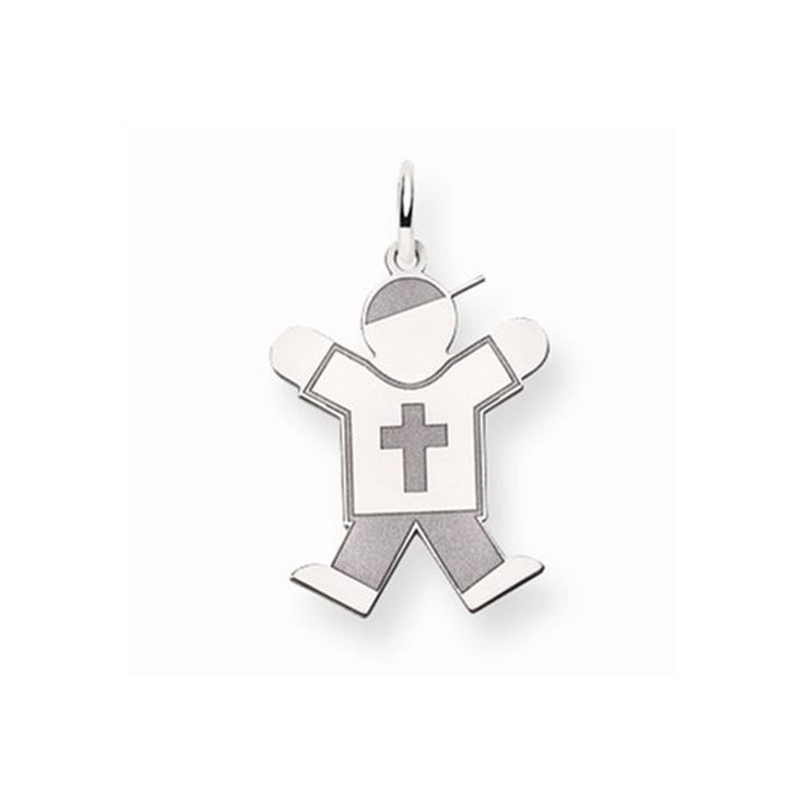 14K White Gold Laser Cut Jumping Kid Boy in Cross Shirt Charm Pendant. Free Gift Box with Purchase. The Kids Collection. Free Shipping on Orders Over $50. 30 Day Money Back Guarantee.