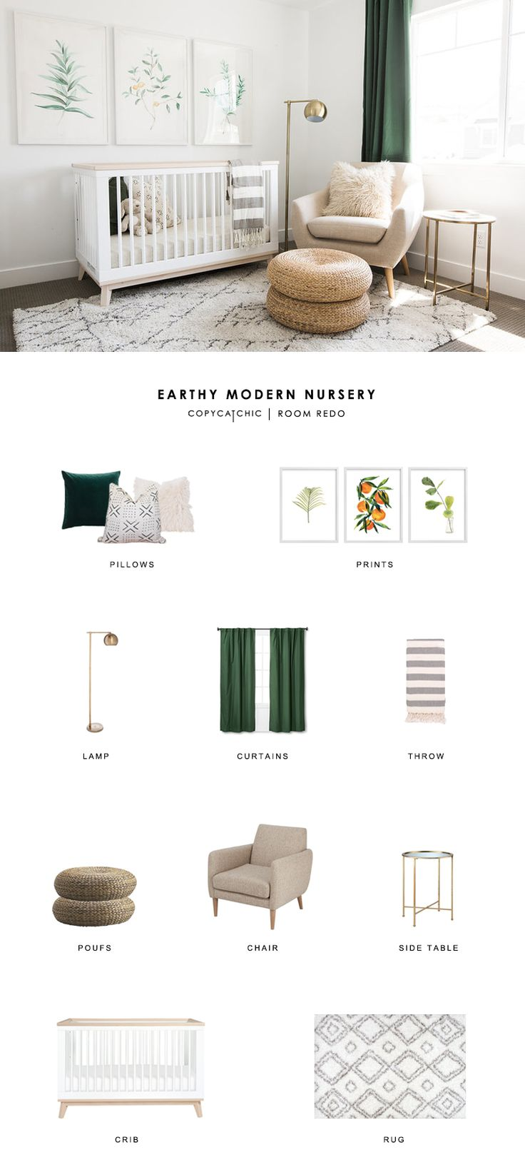 TOTAL | $1,594  GREEN PILLOW $10 | MUDCLOTH PILLOW $45 | FUR PILLOW $28 | PRINT 1 $178 | PRINT 2 $178 | PRINT 3 $178 | LAMP $57 | CURTAINS (EA) $15 | THROW $16 OR THIS ONE $76 | POUFS $30 OR THIS ONE