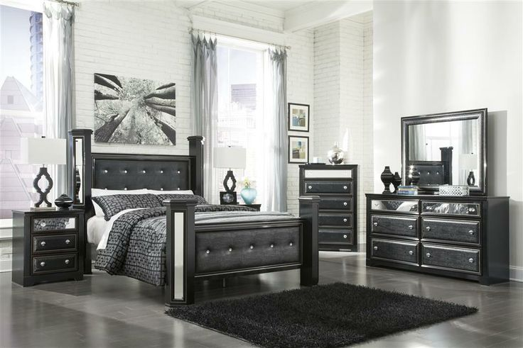 King master bedroom sets black faux leather - Black queen bedroom furniture set ...