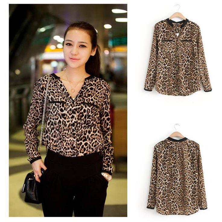 2017 Women Blouse Leopard Print Shirt Long sleeve V -Neck Top Loose Blouses Plus Size Chiffon Shirt Camisa  Clothing