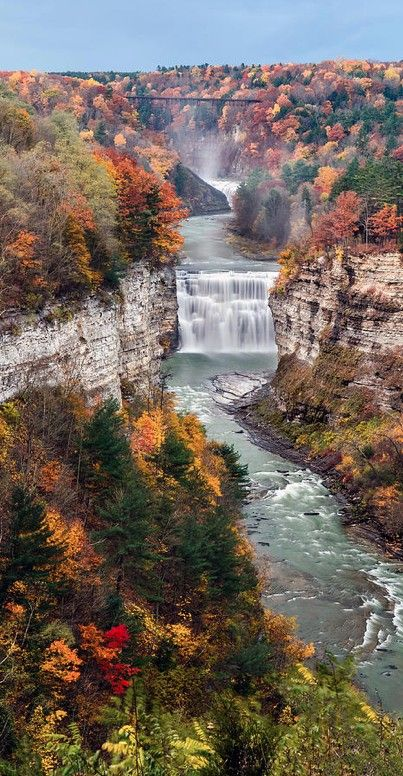 Middle Falls on the Genesee River at Letchworth State Park in Castile, New York • photo: Mark Papke on FineArtAmerica