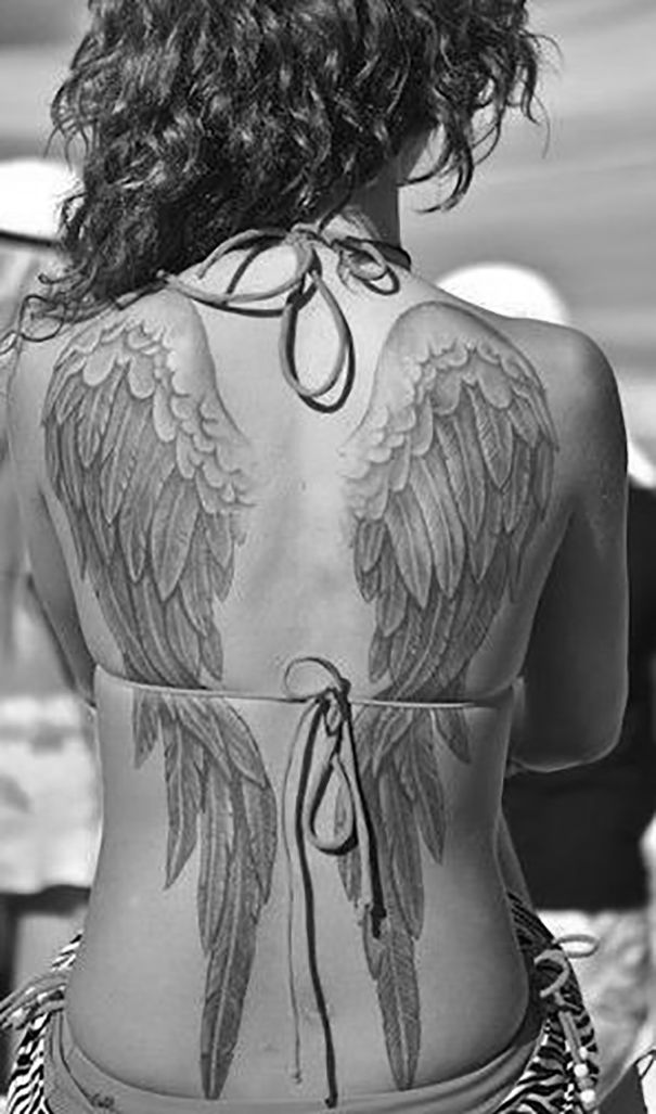angel wings tattoo  on back