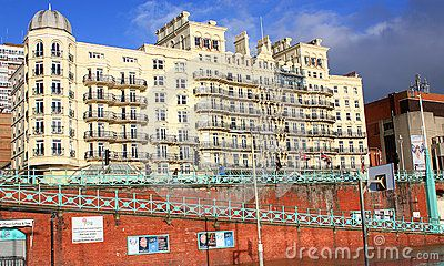 Grand Hotel in Brighton, UK on sunny day.