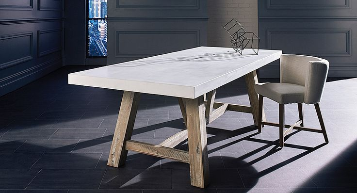 dining suite grey concrete top with white timber chairs Google