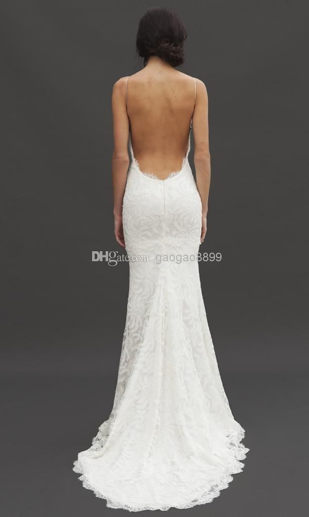 Katie May 2016 Sexy Backless Spring Wedding Dresses Lace Spaghetti Sheath Garden Beach Sheer Summer Bridal Party Gowns Cheap Sheath Wedding Dresses Lace Short Sheath Wedding Dress From Gaogao8899, $121.58| Dhgate.Com