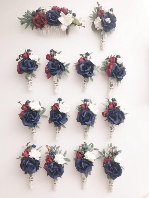 Navy Blue Boutonniere For Men Rustic Boutonniere Burgundy Boutonniere and Corsage Set Flower Boutonniere Rustic Wedding Fall Groomsman gift