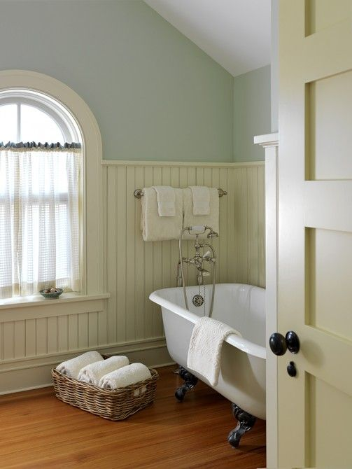 Cafe curtains perfect for privacy yet allowing for a for Country cottage bathroom design ideas