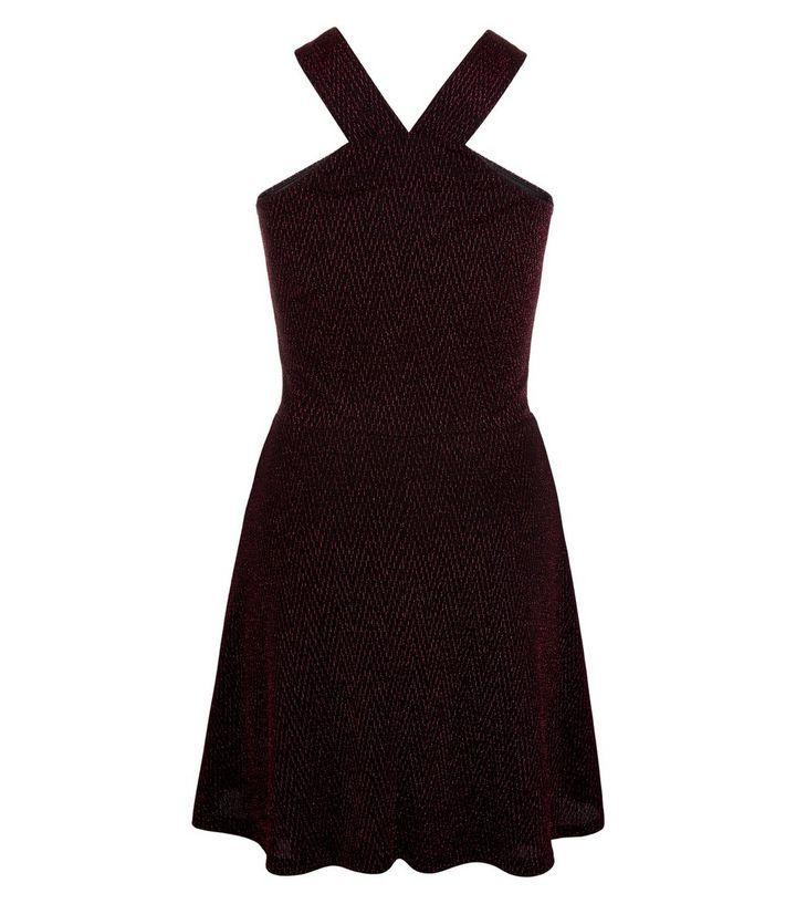Ados- Robe rose métallisée à col V et à motif zigzag | New Look