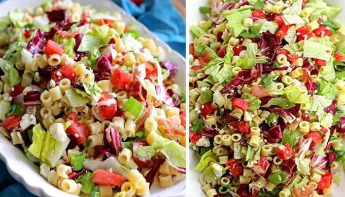 Svěží zeleninový salát se sýrem a těstovinami