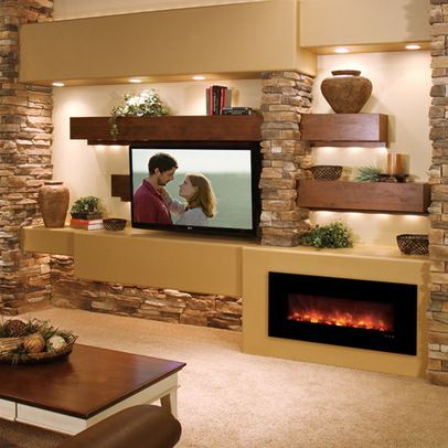 Fireplace And Tv Happy Together On The Same Walla Bit Too Contemporary For Me Modern Flames Electric