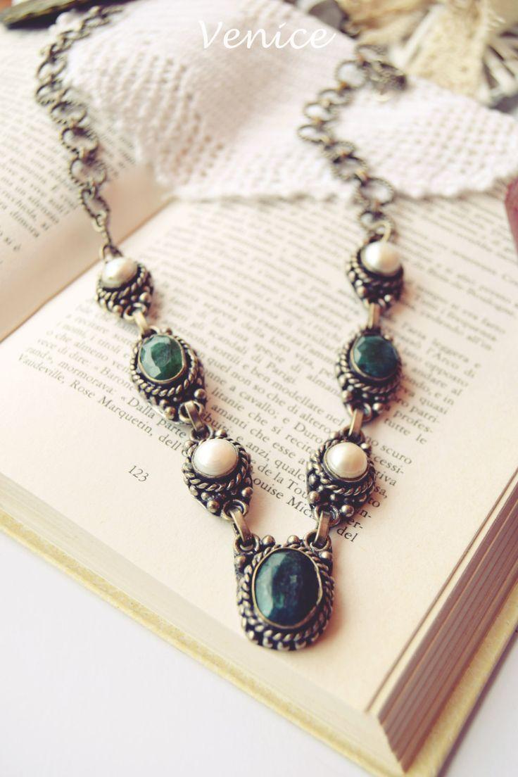 Collana argento indiano pietre dure/collana gata verde/collana perle/collana boho/collana indiana/collana etnica/gioielli boho/regalo amica di VeniceStyle su Etsy