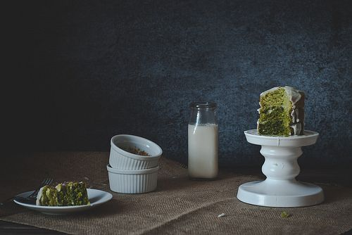 Mini ombre matcha cake with coconut glaze. by Two Red Bowls, via Flickr