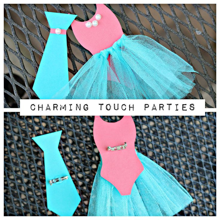 Gender Reveal wearable pins by Charming Touch Parties. Pack of 20. Ties or Tutus. Coral and Aqua. Customizable. by CharmingTouchParties on Etsy