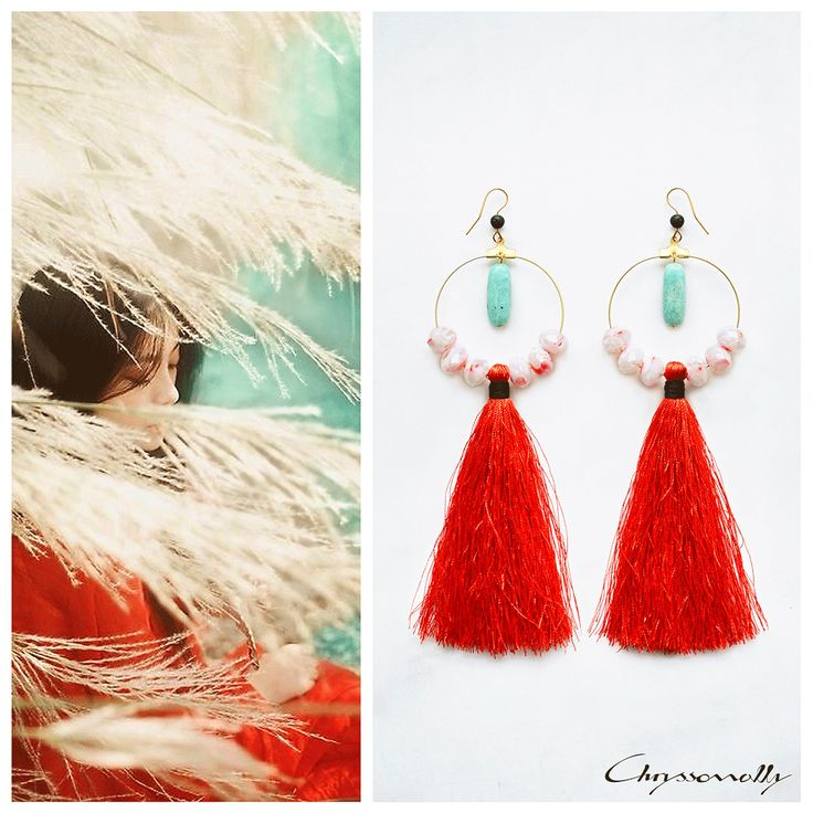 JEWELRY | Chryssomally || Art & Fashion Designer - Asian inspired modern-ethnic red and teal tassel earrings