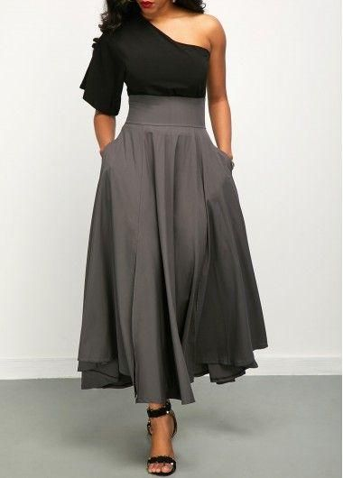 Retro Gray High Waist Pleated Belted Maxi Skirt