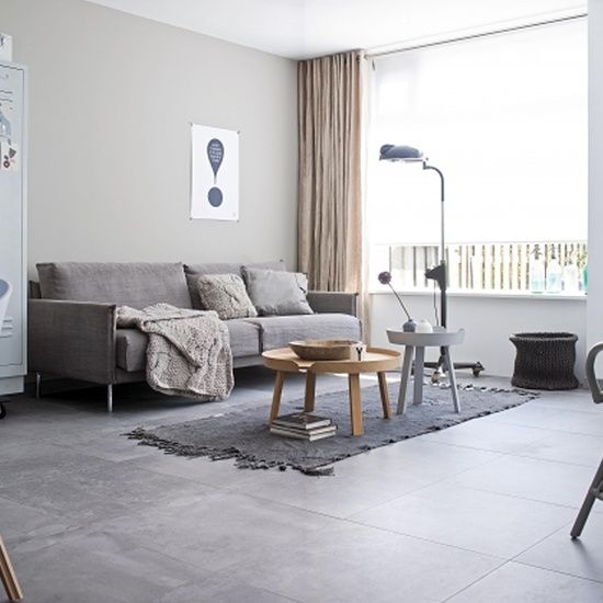 Monochrome, so soothing. Modern Douglas Jones Tiles Living Room By vtwonen. Tiled floor.