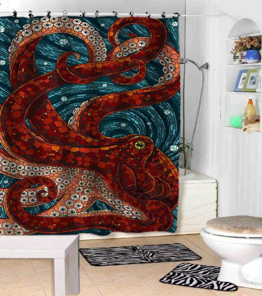 Shower Curtain. This nautical abstract painting is made up of different shades of turquoise, blues and browns.      Sizes available: 36 x 72,48 x 72,