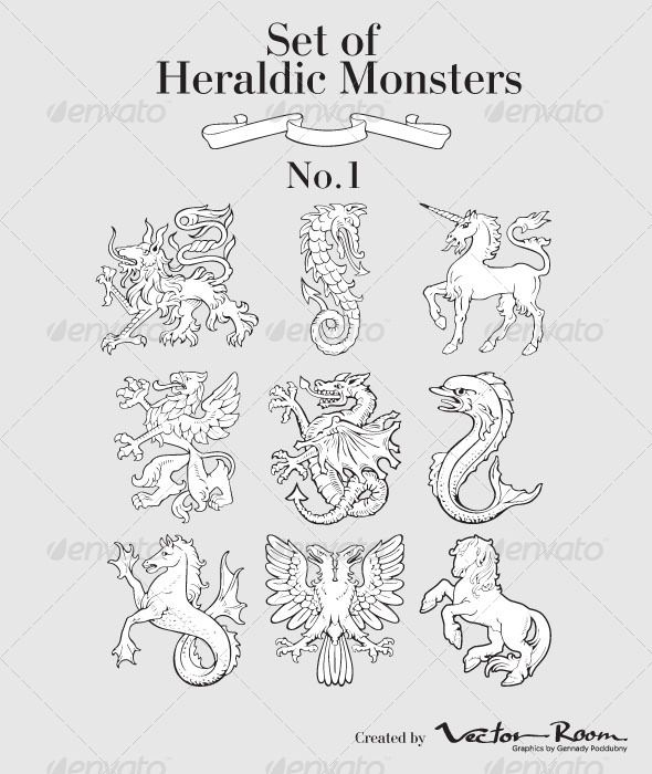 Set of Heraldic Monsters No1 #GraphicRiver Vector pictograms of most heraldic monsters, executed in style of gravure on wood.